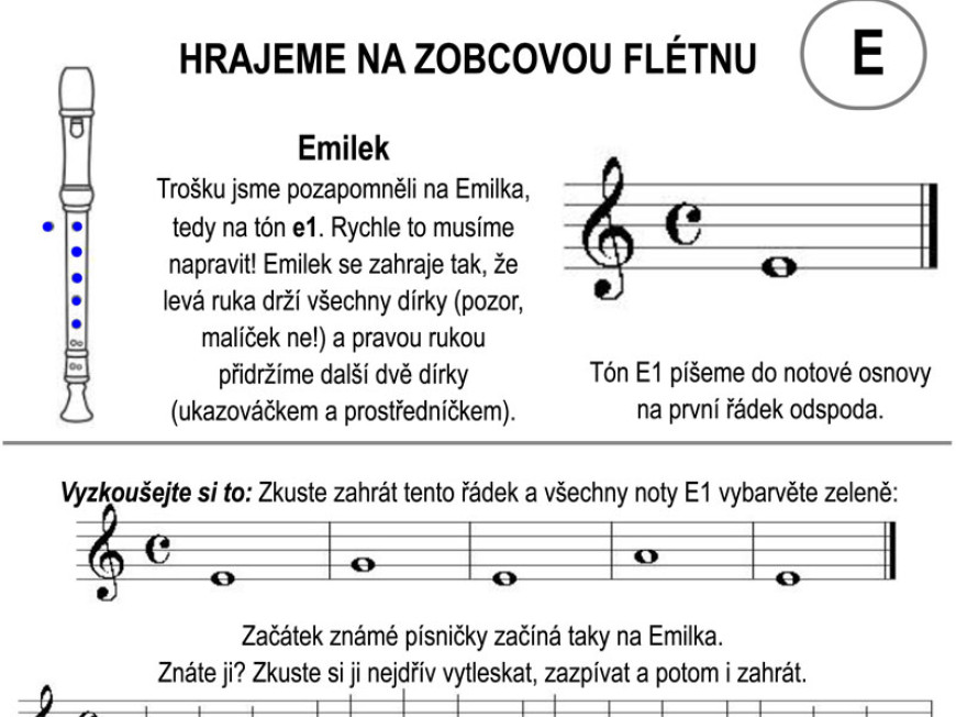 Škola hry na zobcovou flétnu – lekce E