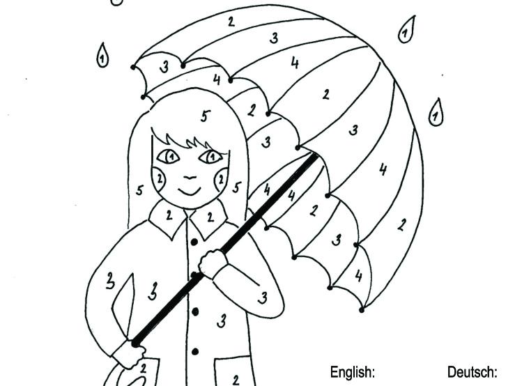 Holčička s deštníkem – barvy v angličtině i němčině
