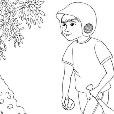 Kluk jde na baseball – omalovánka
