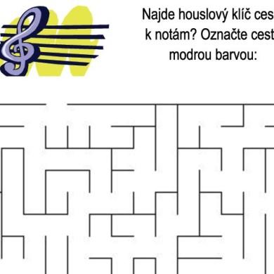 Bludiště – houslový klíč a noty