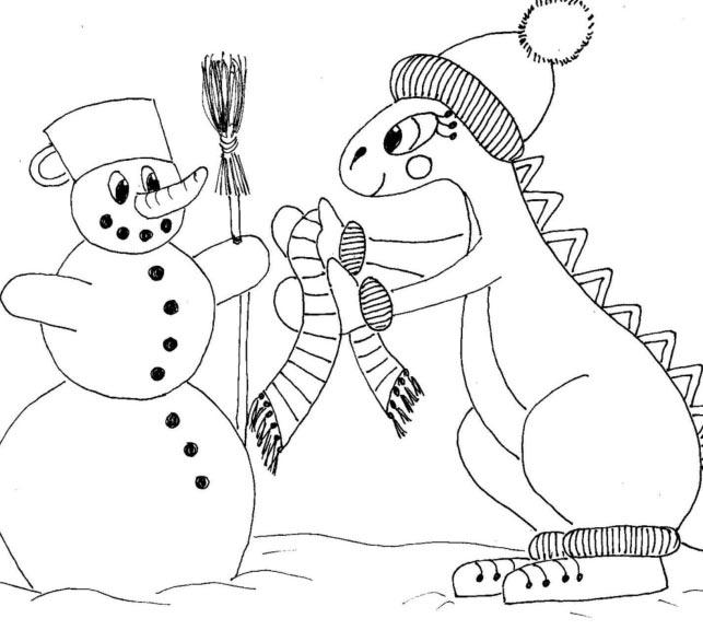 Dráček staví sněhuláka