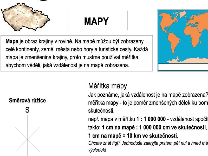 MAPY – pracovní list