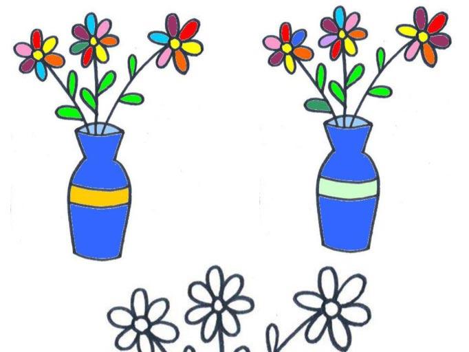 Omalovánka a hledání rozdílů – váza