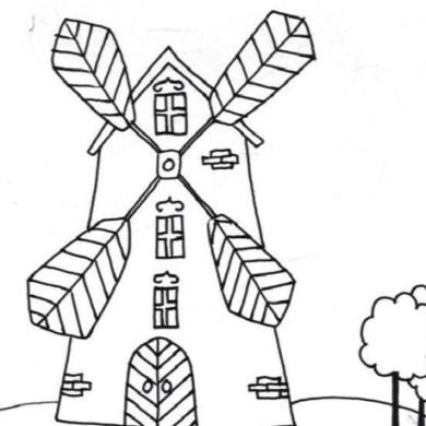 Omalovánka – větrný mlýn
