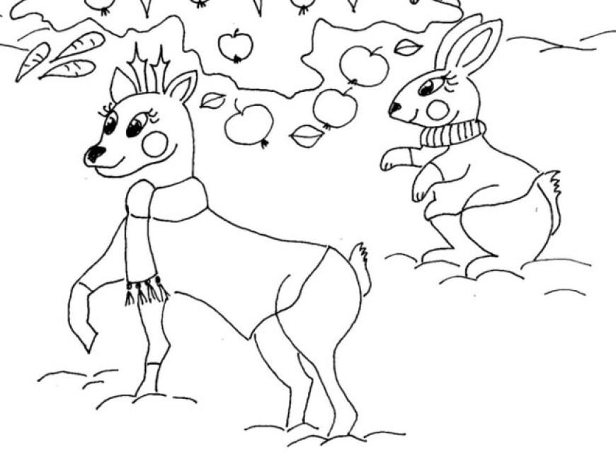 Omalovánka – zvířátka o Vánocích