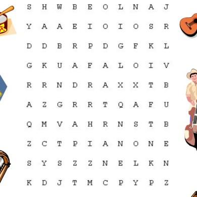 Osmisměrka – hudební nástroje