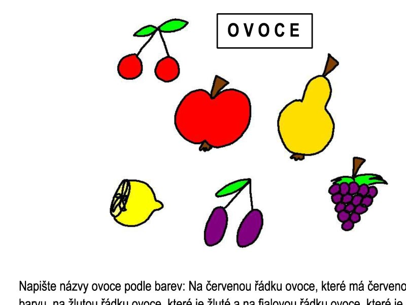 Ovoce – písmenka a barvy