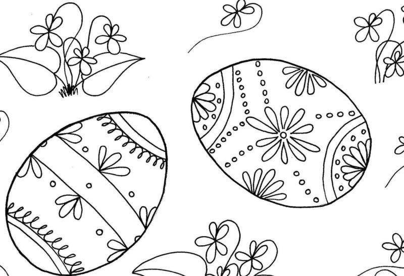 Velikonoční kraslice a fialky – omalovánka