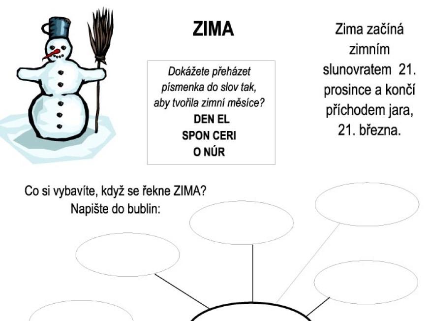 ZIMA – pracovní list