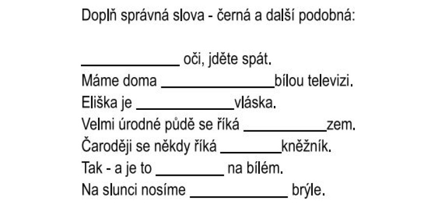 Barevné hry s češtinou: ČERNÁ