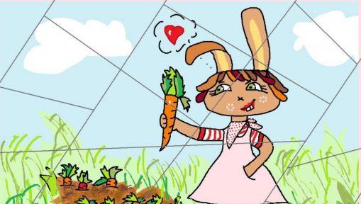 Puzzle – králičí holčička zahradnice