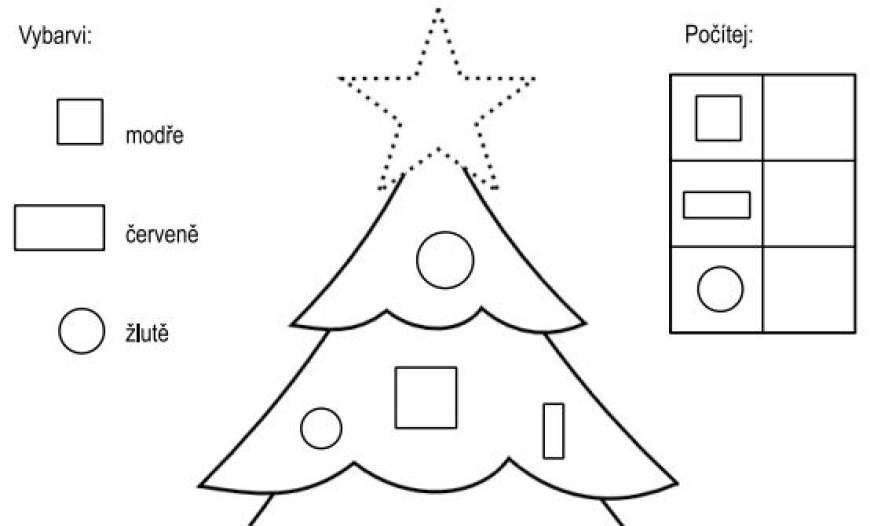 Vánoční stromek – vybarvi a počítej