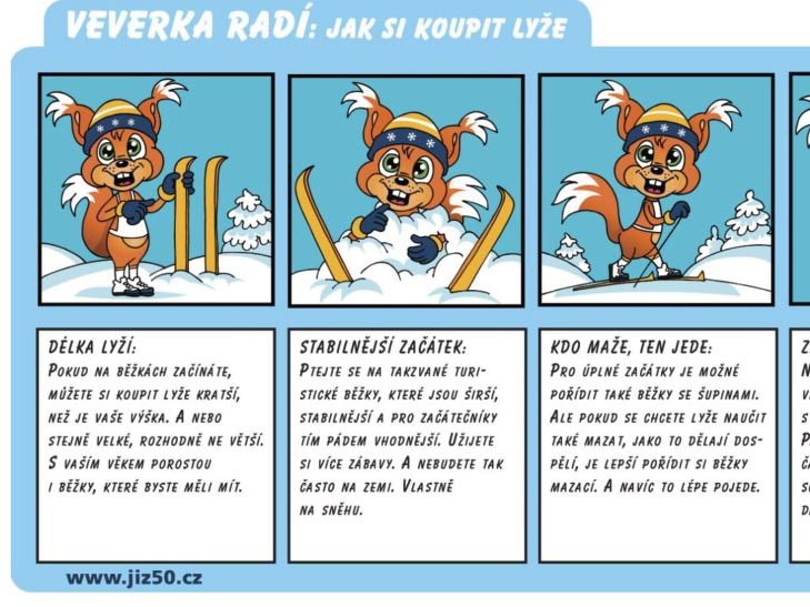 Veverka Jizerka vám poradí, jak na lyže