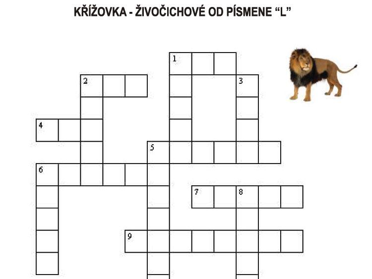 """Křížovka – živočichové od písmene """"L"""""""