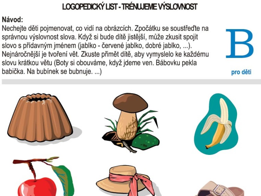 Logopedické listy – B pro děti