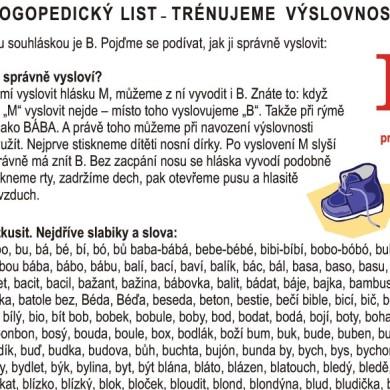 Logopedické listy – B pro rodiče