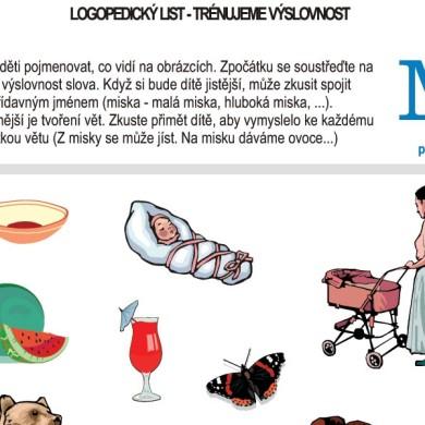 Logopedické listy – M pro děti