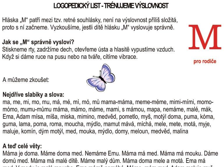 Logopedické listy – M pro rodiče