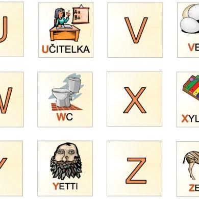 Pexeso s abecedou (U-Ž)