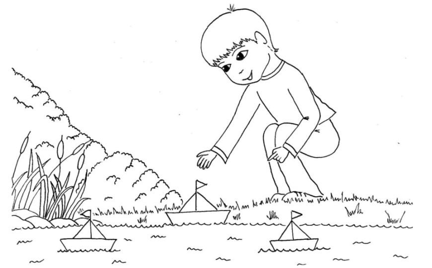 Pouštění lodiček – omalovánka