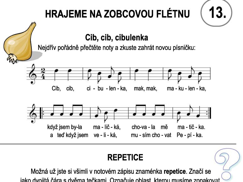 Škola hry na zobcovou flétnu – LEKCE TŘINÁCTÁ