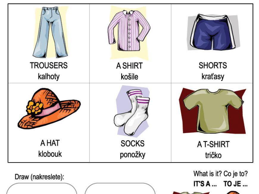 Angličtina pro děti – oblečení