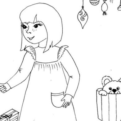 Omalovánka – holčička s dárky