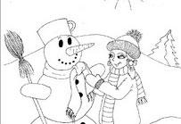 Holčička se sněhulákem