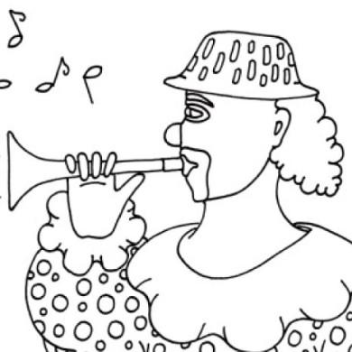 Omalovánky s klaunem – hra na trumpetu