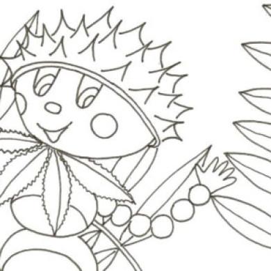 Kaštanový panáček – omalovánka